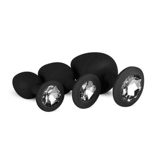 Stalowe korki analne z kryształkami - 3 rozmiary